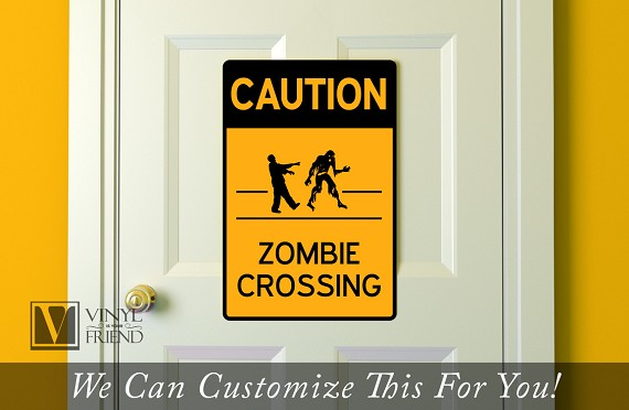 Caution Zombie Crossing Road And Street Sign Solid Back Caution