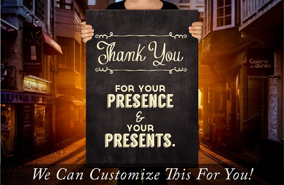 Thank you for your presense and your presents wedding decor - a wall decor vinyl decal lettering word 2438