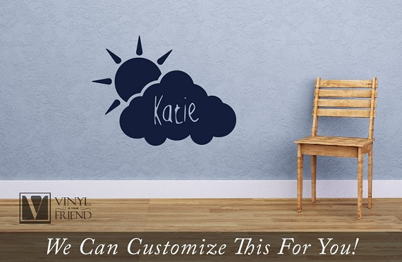 Cloud and Sun Custom name wall decor vinyl decal - personalize with a name for your wall for nursery or child rooms 2463