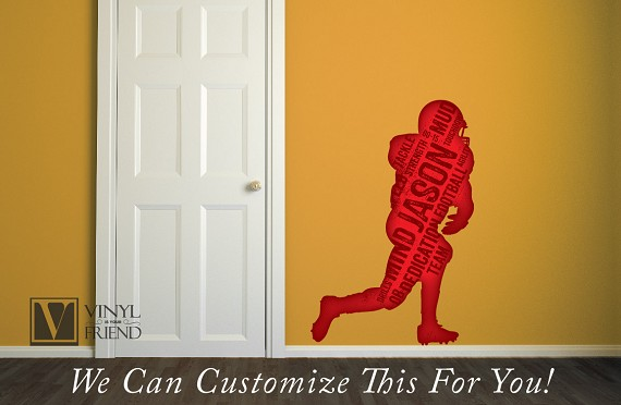 Custome name football player silhouette with name and words - a wall decor vinyl decal digital print 2466