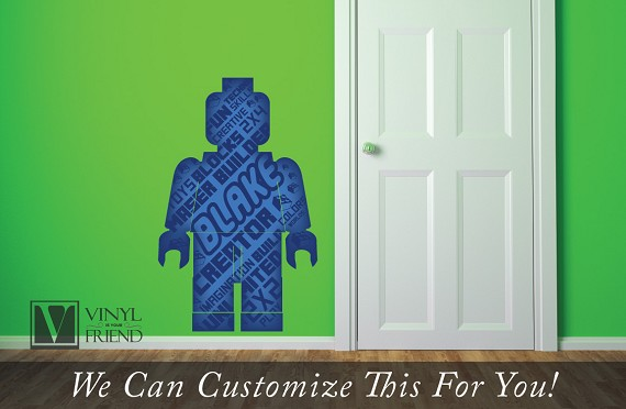 minifig brick builder decal custom name mini fig figure word collage with - a wall decor vinyl decal digital print 2468