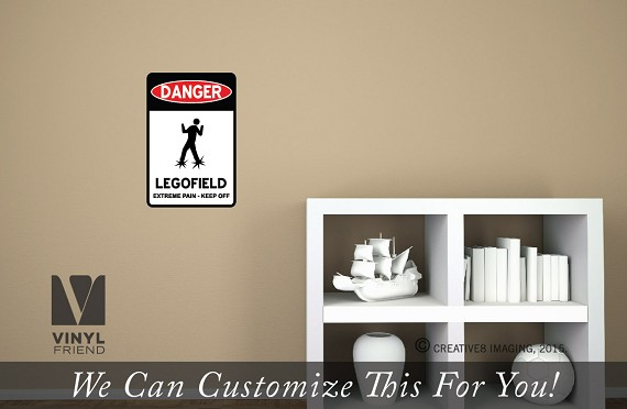 DANGER legofield door sign vinyl decal wall decor for brick builder fan rooms digital print p2323