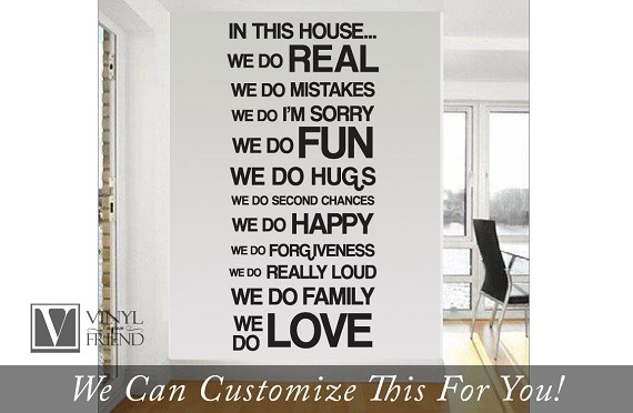 In this house we do real we do mistakes we do im sorry we do fun.... Home wall decor vinyl decal large sans serif font b2004