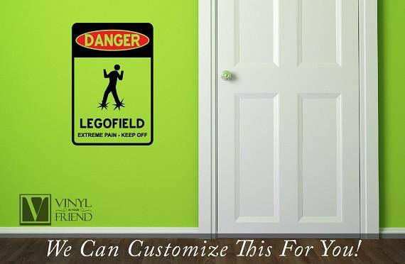 Danger Legofield - extreme pain - keep off vinyl decal road street ...
