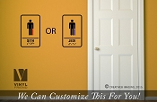 Jedi or Sith restroom sign stickman with light sabers sign wall decor decal - star wars title themed sticker 2495