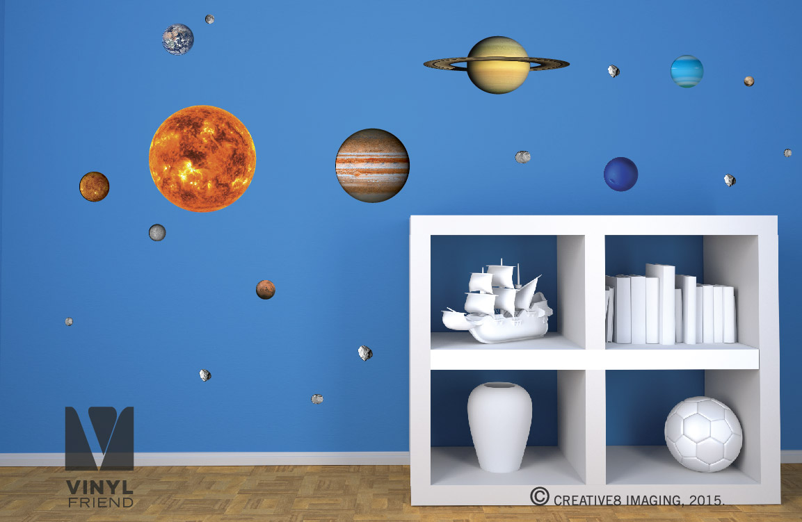 Solar System Vinyl Decal Pack Of All 9 Planets Sun Moon And Asteroid Science Theme Wall Decor For Geeks And School Digital Print 2497