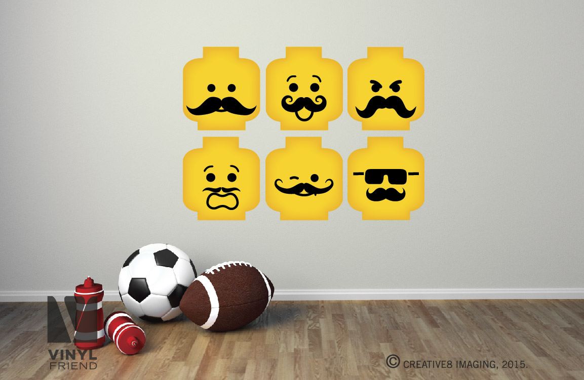 Minifig Emotion Head Faces With Mustaches Wall Decor Vinyl Decal Digital Print For Brick Builders Theme Room 2498