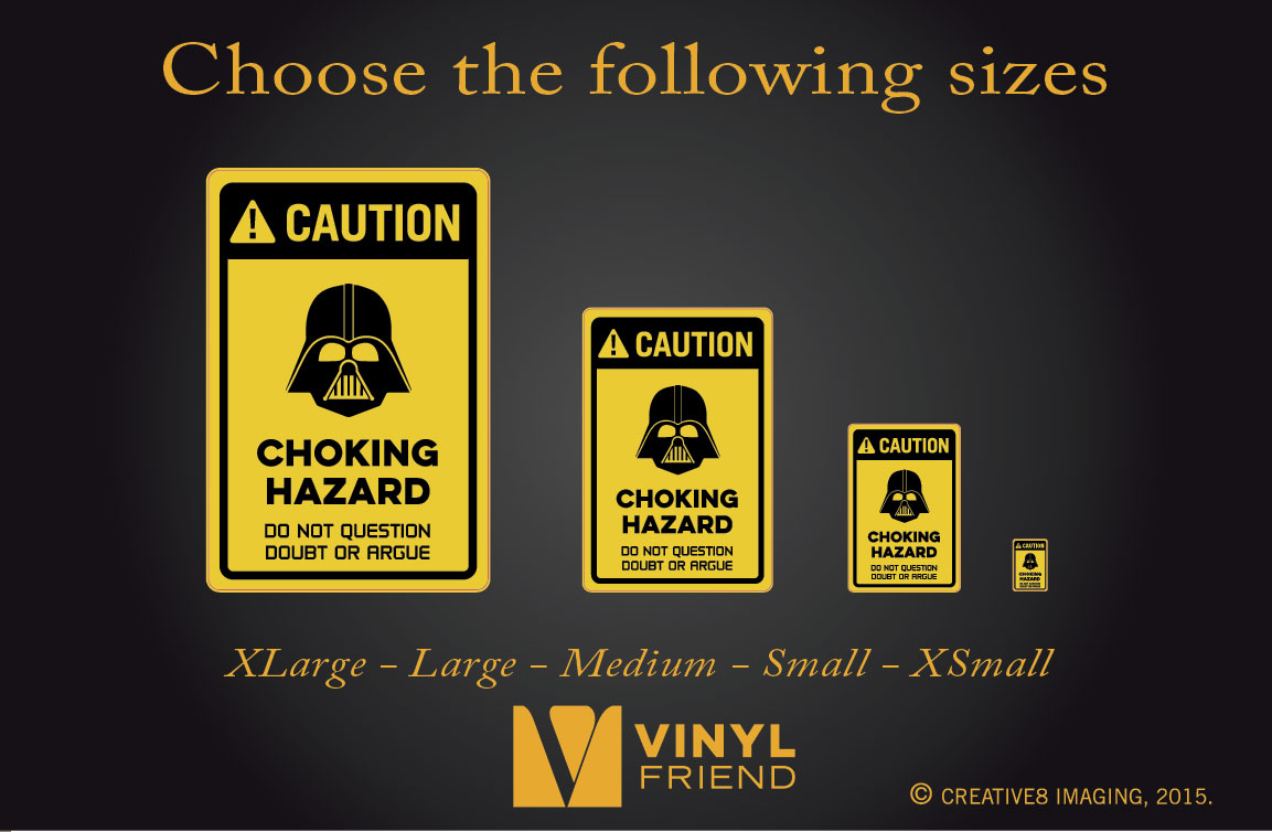 Greatest CAUTION coking hazard darth vader vinyl decal sign digital print 2501 AT33