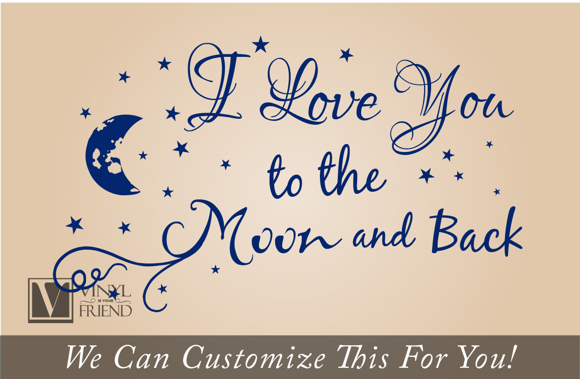 LOVE Quotes Wall Decor Wall Art I LOVE YOU To The Moon And Back Wall Say G2G9 1X