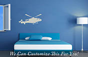 Military Helicopter in flight silhouette a wall decor vinyl decal sticker graphic art 2035