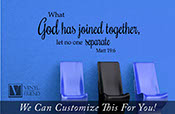 what god has joined together let no one separate bible wall vinyl lettering decal for weddings quote 2265