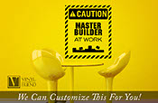 Master Builder at work with building bricks caution sign wall decor a vinyl sticker decal for your kids playroom or door 2293