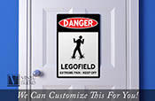 Danger Legofield - extreme pain - keep off solid back danger acrylic sign for wall decor and that brick builder room 2323