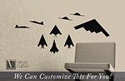 Stealth Fighter Jets pack of 9 US Military jets profile and top views - a wall decor vinyl decal sticker graphic art 2367