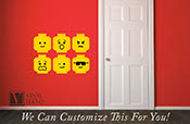 minifig emotion head faces wall decor vinyl decal digital print graphic for you kids brick builder theme room 2469