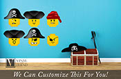 brick builder minifig pirate faces wall decor vinyl decal digital print graphic for pirate theme room 2481
