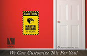 CAUTION master builder at work vinyl decal wall decor print for brick builders theme rooms p2320