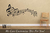 Musical staff with notes wavey wall decor vinyl decal letteing for music rooms and musicians b2467