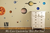 Solar System vinyl decal pack (REUSABLE, REMOVALBE, REPOSITIONABLE) of all 9 planets, sun, moon and asteroid Space theme wall décor