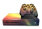 E-SKINS Xbox One gaming console skin light streaks red yellow and blue decals