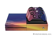 E-SKINS Xbox One gaming console skin Yellow and Blue Light Streaks texture decals