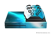 E-SKINS Xbox One gaming console skin Blue light Streak and White Clouds decals