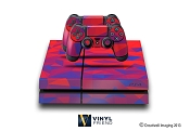 E-SKINS Play Station 4 (ps4) gaming console skin polygon pattern 5 red and blue decals