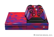 E-SKINS Xbox One gaming console skin POLY Pattern plaid red and blue decals