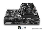 E-SKINS Xbox One gaming console skin 3d cubes pattern black and white decals