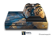 E-SKINS Xbox One gaming console skin metal grunge polygon pattern 2 decals