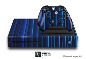 E-SKINS Xbox One gaming console skin blue glowing strips decals